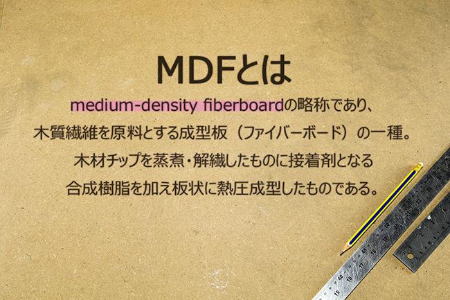 medium-density fiberboardの略称であり、木質繊維を原料とする成型板(ファイバーボード)の一種