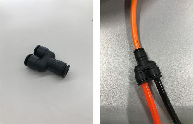 レーザー加工機・レーザーカッターでのレーザー加工時の断面の焦げや、黄ばみを軽減させる方法のひとつにエアーコンプレッサーで噴きつけるエアーの供給量を上げる事によって加工素材の切断面を急速に冷やし、粉塵を拡散させる方法があります。