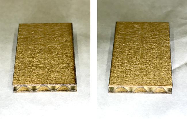レーザー加工機・レーザーカッターでのレーザー加工時の断面の焦げや、黄ばみを軽減させる方法のひとつにエアー噴き出し口へアシストノズルのパーツを付けてレーザー切断した場合、2台用意した結果ほとんどの煤が除去されているのがわかりました。