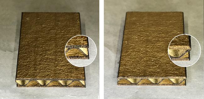 それぞれの写真は、エアーコンプレッサー1台(写真:左)と2台(写真:右)で段ボールを切断した断面の差になります。<br> 写真では分かりづらいですが、断面に付着している煤(すす)の量が軽減します。