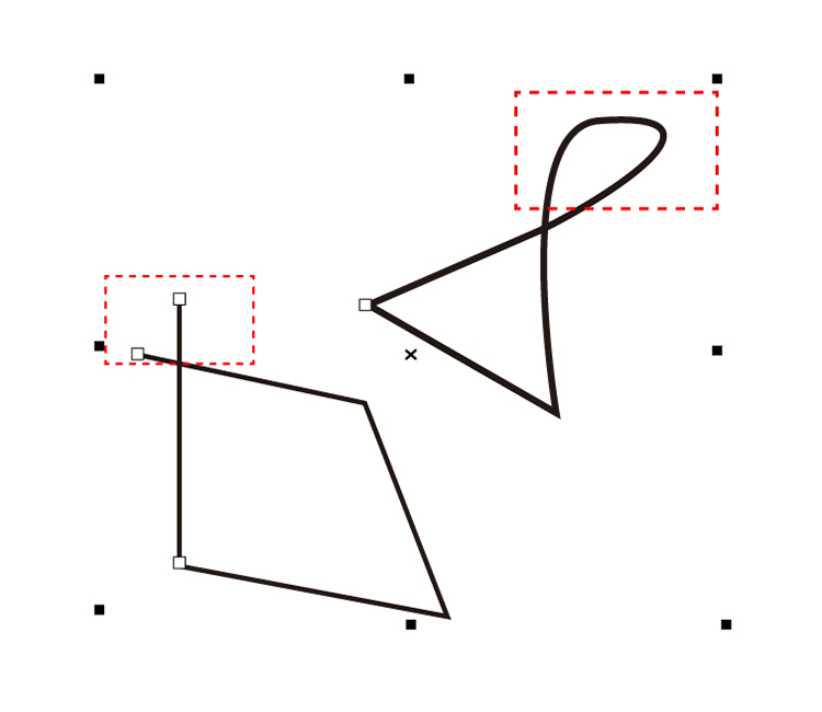 グラフィックソフト「CorelDRAW(コーレルドロー)」ではみ出したラインを削除する。手順2、「仮想セグメントの削除」ツールを選択し、削除したいラインをドラッグで囲む。