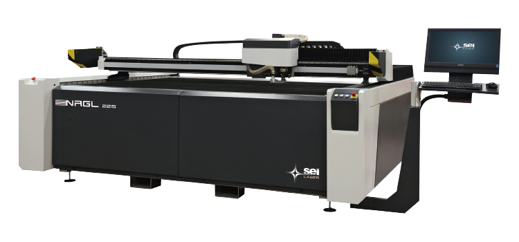 レーザー加工機(レーザーカッター)SEIシリーズNRG-L2215はペーパーの超繊細カットやハーフカット、木材や革製品への彫刻から厚みのあるアクリルを表面彫刻をすることも可能です。