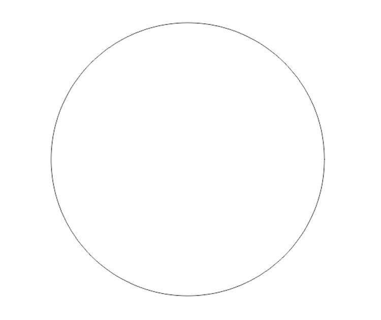 レーザー加工するコースターのサイズを円ツールを使って正円で作成します。