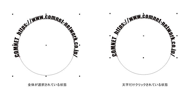 文字(テキスト)データが正円の外側に配置されているので、位置調整をしましょう。