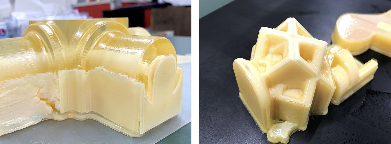 3DプリンターKEYENCE Agilista(キーエンスアジリスタ )で出力した造形物のサポート材が水でとれる前