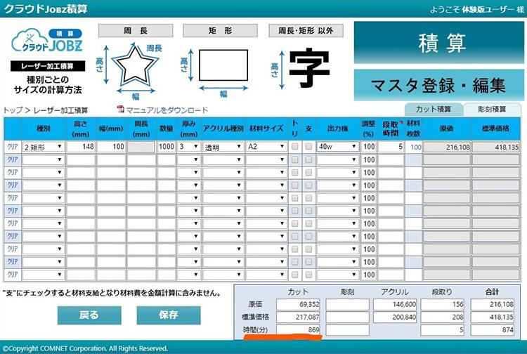 40Wのレーザーカッターで加工した場合の加工時間の算出結果