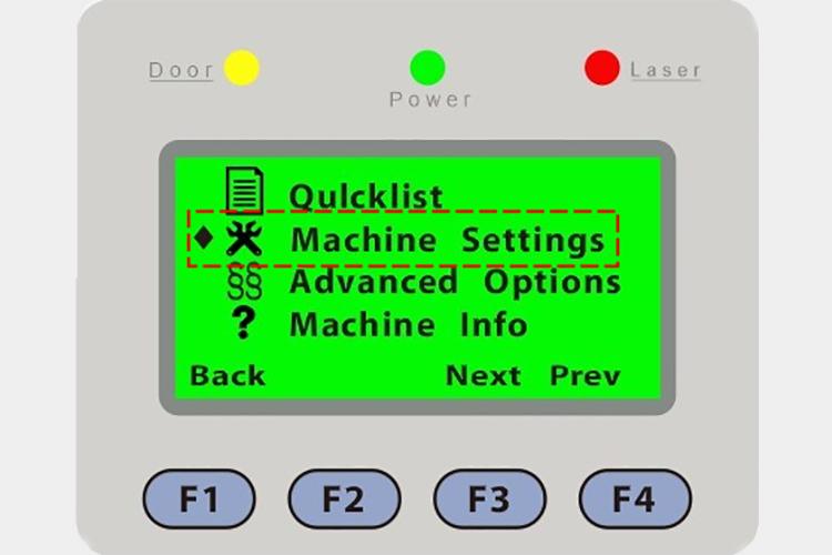 パソコンとつなぐレーザーカッター(レーザー加工機)にbit数を設定するため「Machine Settings」を選択します。