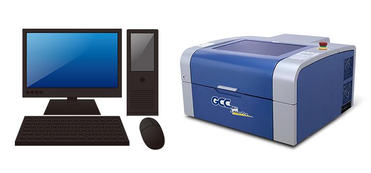 パソコンからレーザー加工機(レーザーカッター)に加工データが転送できない場合:パソコン・レーザーカッターの電源を切り、再起動する。