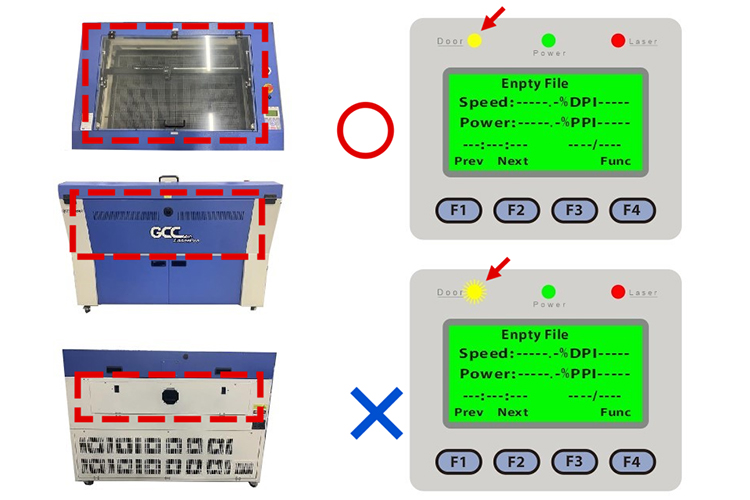 レーザー加工機からレーザーが発射されなくなったときのポイント:レーザーカッターのドアセンサーのランプが正常か確認する