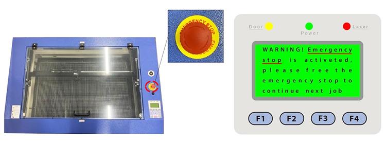レーザー加工機からレーザーが発射されなくなったときのポイント:レーザーカッターの緊急停止ボタンがONになっていないか確認する