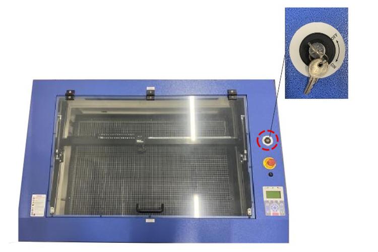 レーザー加工機からレーザーが発射されなくなったときのポイント:レーザーカッターのキースイッチ(鍵)がOFFになっていないか確認する