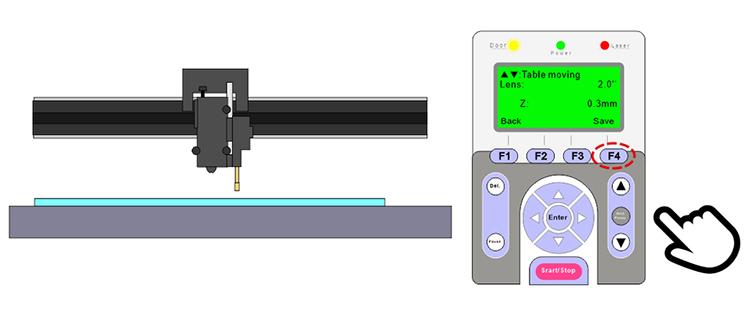 レーザー加工機(レーザーカッター)から出力されるレーザーが太くなる現象:オートフォーカスピンをセットし、高さの設定をレーザーカッター本体に保存します。