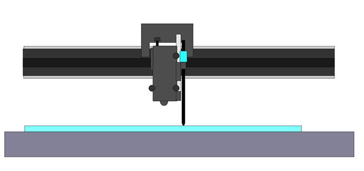 レーザー加工機(レーザーカッター)から出力されるレーザーが太くなる現象:マニュアルピン絵\をセットし、調整した高さになっていれば完了です。