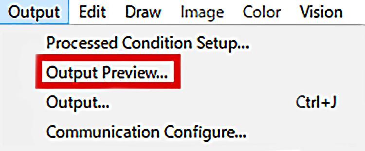 SmartCONTROLソフトにてCCD Calibration実行後に、レーザー加工をすると位置がズレてしまった場合、加工位置を微調整する方法3:Output Previewをひらく。