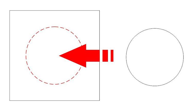 オブジェクトへのスナップ機能(CorelDRAW):円のデータをドラッグして、四角のデータの中へ配置します。