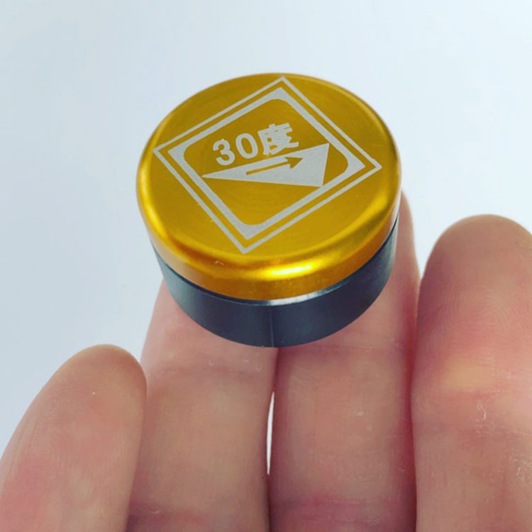 レーザーでマーキング加工したアルマイト製品(株式会社斉藤鉄工所様)