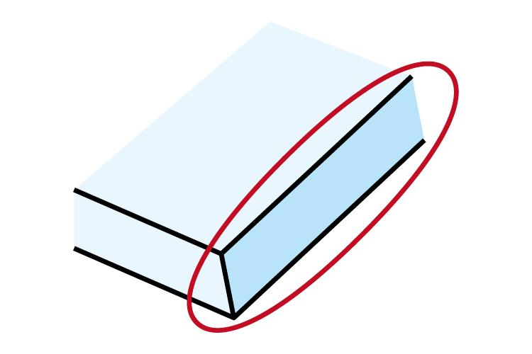レーザー加工機の焦点が合っていない場合の加工品質への影響:カット断面が斜めになる。