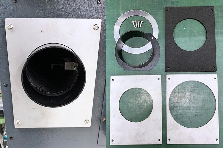 レーザーカッター・レーザー加工機の集塵消臭機の外排気用改造パーツ