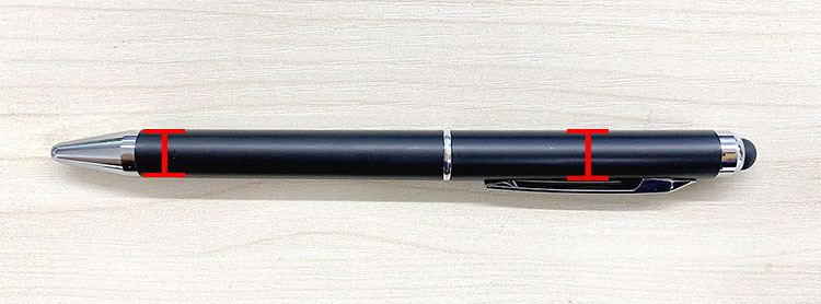 パーツが支えられる2点を計測します|ボールペンを加工する時の固定用パーツの作成方法|コムネット特製「フジタ式治具」|レーザー加工道場|コムネット