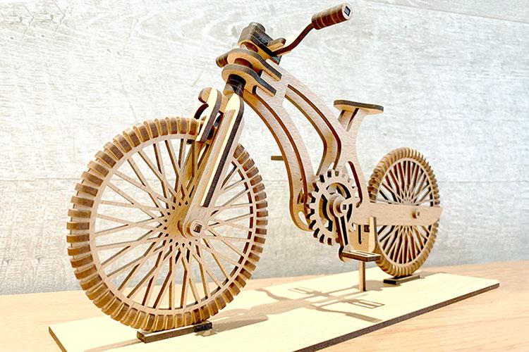 レーザー加工サンプル:自転車のプラモデル(MDF)|レーザー加工データを購入できるサイト「Etsy(エッツィ)」|レーザー加工道場