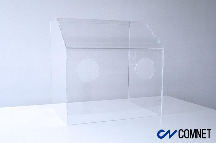 飛沫拡散防止アクリルボックス筐体写真