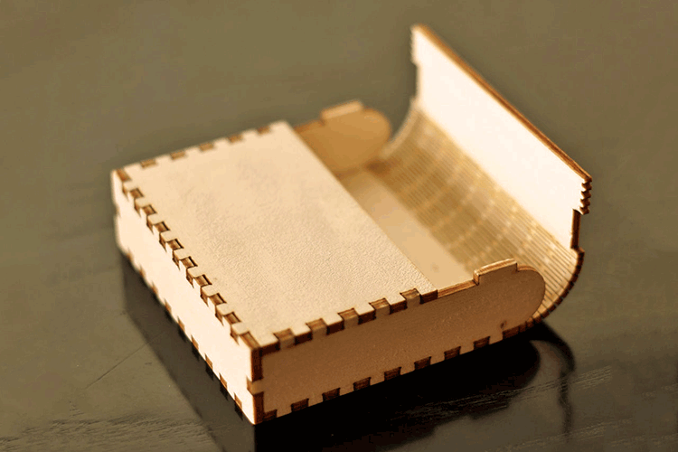 MDFの曲げ加工を活用した商品開発事例:カードボックス|MDFの曲げ加工ができるレーザーカット技法|レーザー加工道場