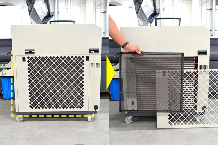 フィルターの清掃:チラー本体の側面にあり、簡易に取り外せます。はたいてホコリを落とすか、掃除機やブラシで清掃しましょう。|チラー(水冷機)のメンテナンス方法|レーザーメンテナンス講座