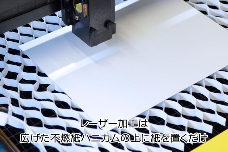 広げた不燃紙ハニカムの上に紙を置くだけでレーザー加工できます。|紙・ペーパーをレーザー加工するときに気をつけるポイント