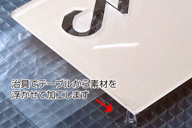 治具でカッティングテーブルから素材を浮かせて加工します|透明アクリルをレーザー加工するときに気をつけるポイント|レーザー加工道場