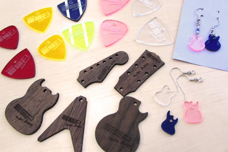 レーザー加工商品:音楽関連のノベルティグッズ|ESPエンタテインメント東京様|レーザー加工機の導入事例