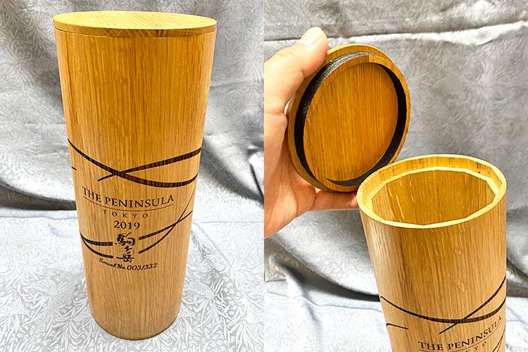 贈答用ウイスキーボトルのケース(名入れサービス) 株式会社三晃様 レーザー加工機の導入事例