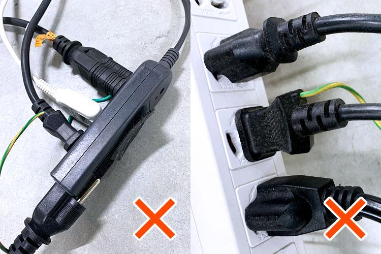 改善が必要なレーザー加工機への配線方法:たこ足配線 レーザー加工機への配線方法を見直しましょう(たこ足配線・アース) レーザーメンテナンス講座