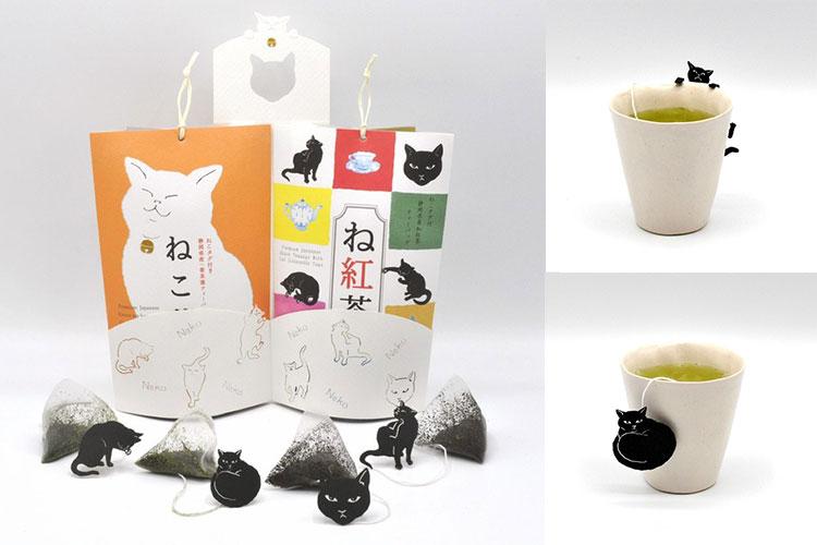 ティーバッグにチャーミングな猫のタグがついた「ねこ茶」。 株式会社山壽杉本商店様 レーザー加工機の導入事例